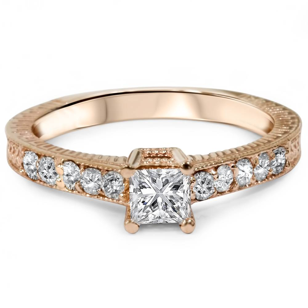 1 2ct Vintage Princess Cut Diamond Engagement Ring 14K Rose Gold