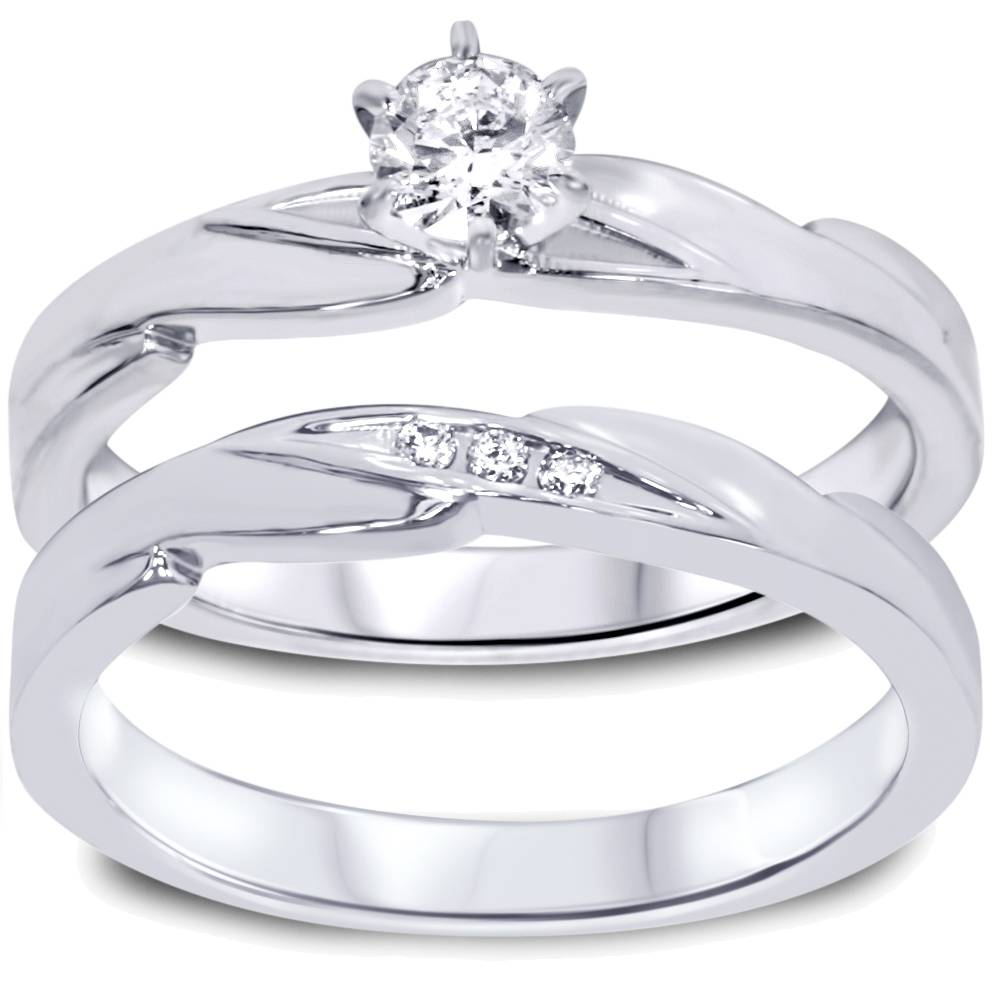 1 4ct diamond engagement wedding ring set 10k white gold for White diamond wedding ring