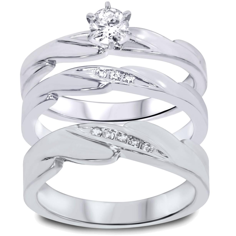 13ct Diamond Engagement Wedding Ring Trio Set 10K White Gold eBay