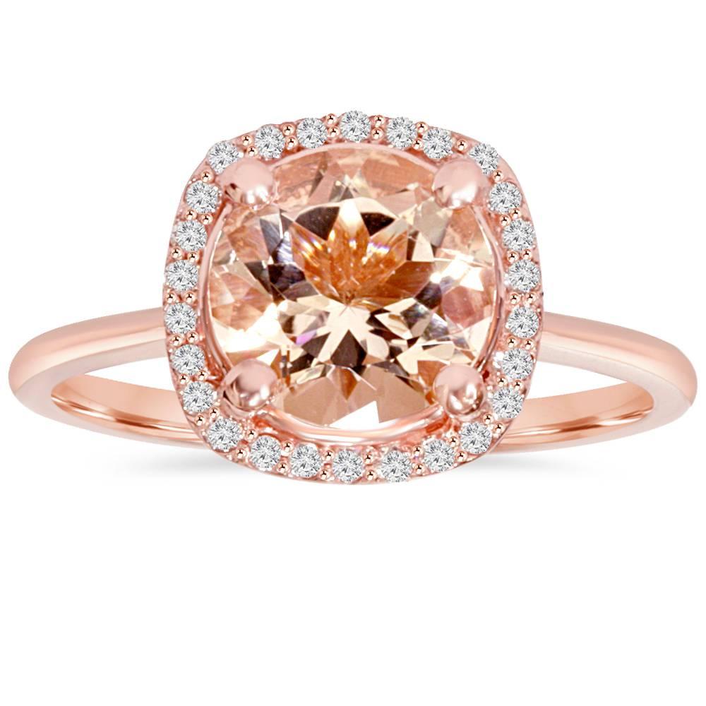 1 3 4Ct Morganite & Diamond Cushion Halo 14K Rose Gold Engagement Ring