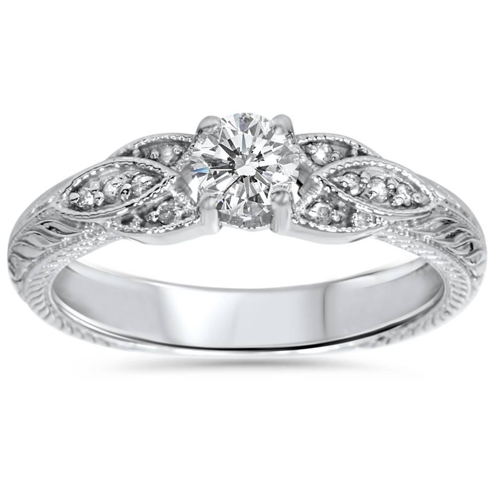 3 8ct vintage diamond floral engraved engagement ring 14k. Black Bedroom Furniture Sets. Home Design Ideas