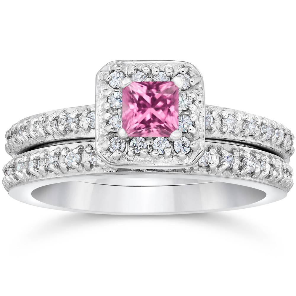 Princess cut pink sapphire 1 1 3ct pave vintage diamond for Princess cut pink diamond wedding rings