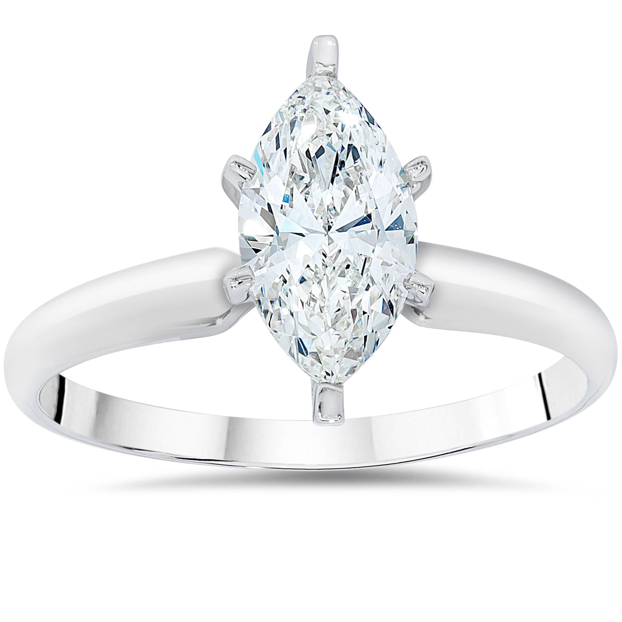 Marquise Ring Bands: 1ct Solitaire Marquise Enhanced Diamond Engagement Ring
