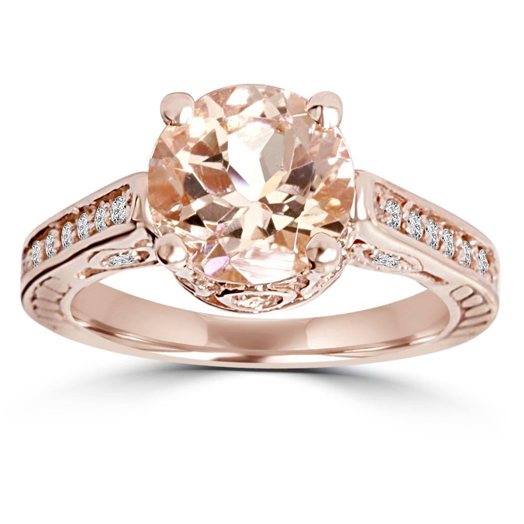 Morganite & Diamond Vintage Engagement Ring 2 Carat Antique 14K Rose Gold