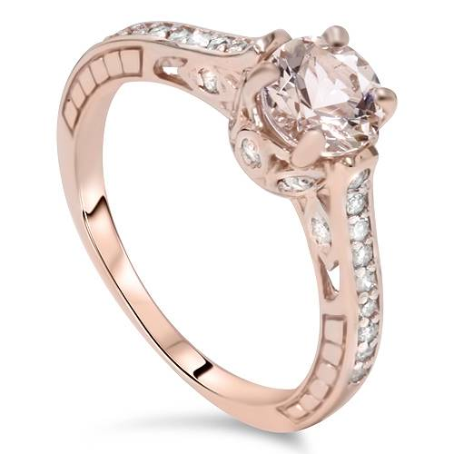 14K Rose Gold 1 carat Morganite & Diamond Vintage Engagement Ring – Disco