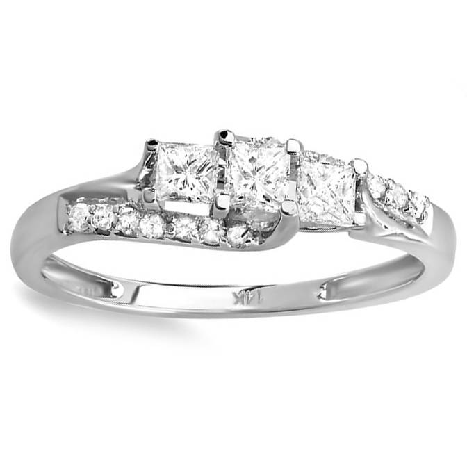 1 2ct Princess Cut Diamond 3 Stone Engagement Ring 10K White Gold