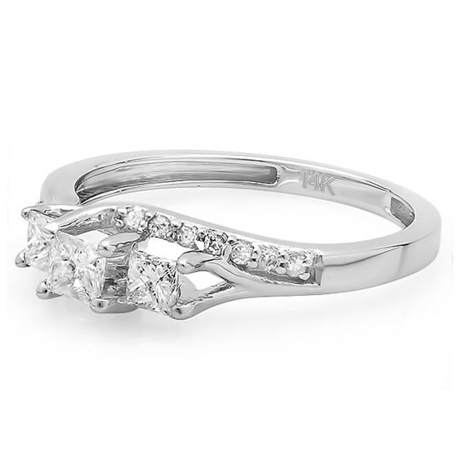 1 2ct Princess Cut Diamond 3 Stone Engagement Ring 10K White Gold