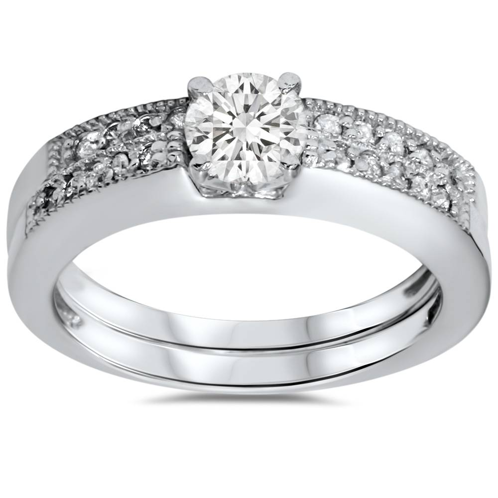 Pompeii3 Real .60CT Round Diamond Vintage Engagement Wedding Ring Band Antique Deco 14k