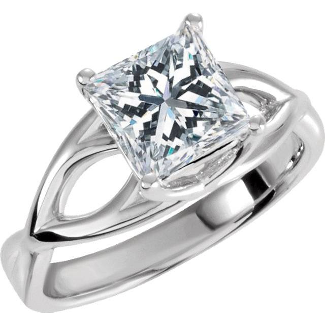 1 carat princess cut enhanced solitaire engagement