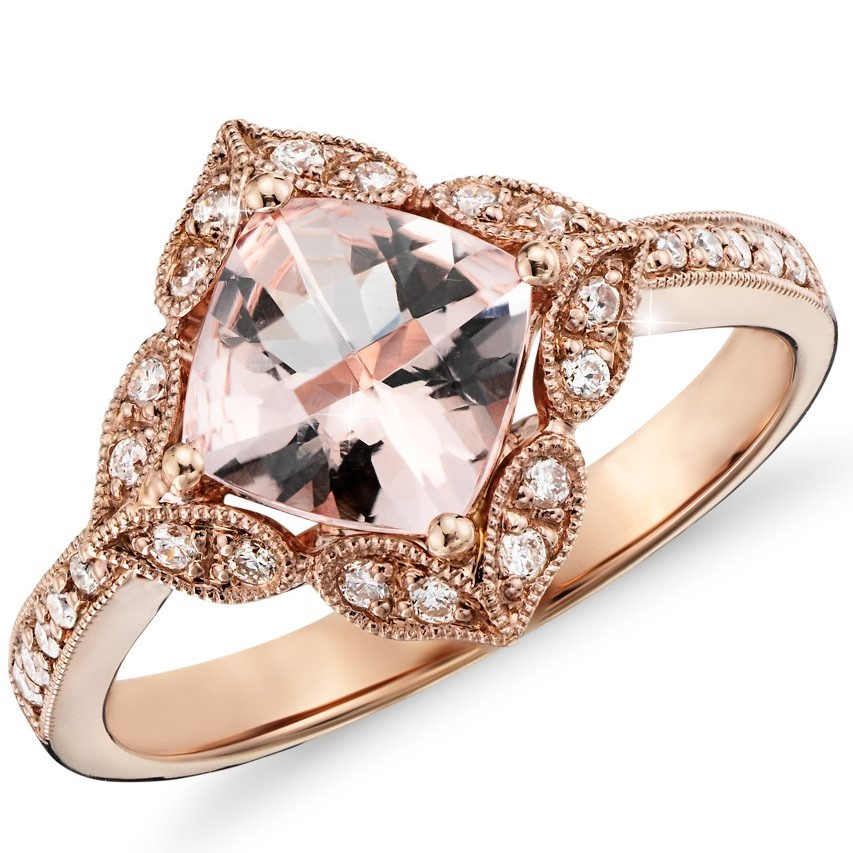 2 83 Ct Cushion Morganite Vintage Antique Engagement ...