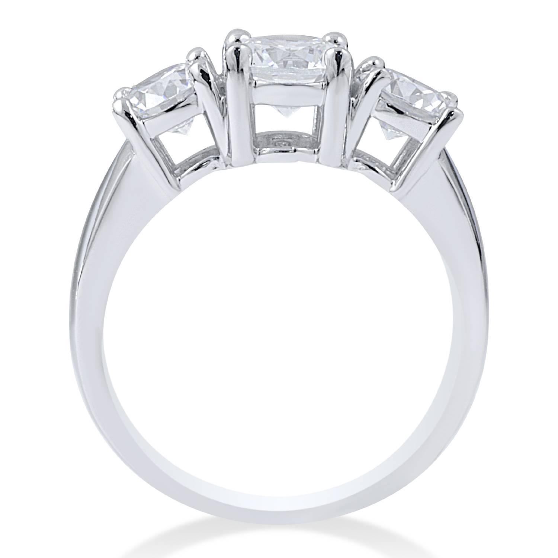 3 4Ct Diamond 3 Stone Engagement Ring 14K White Gold