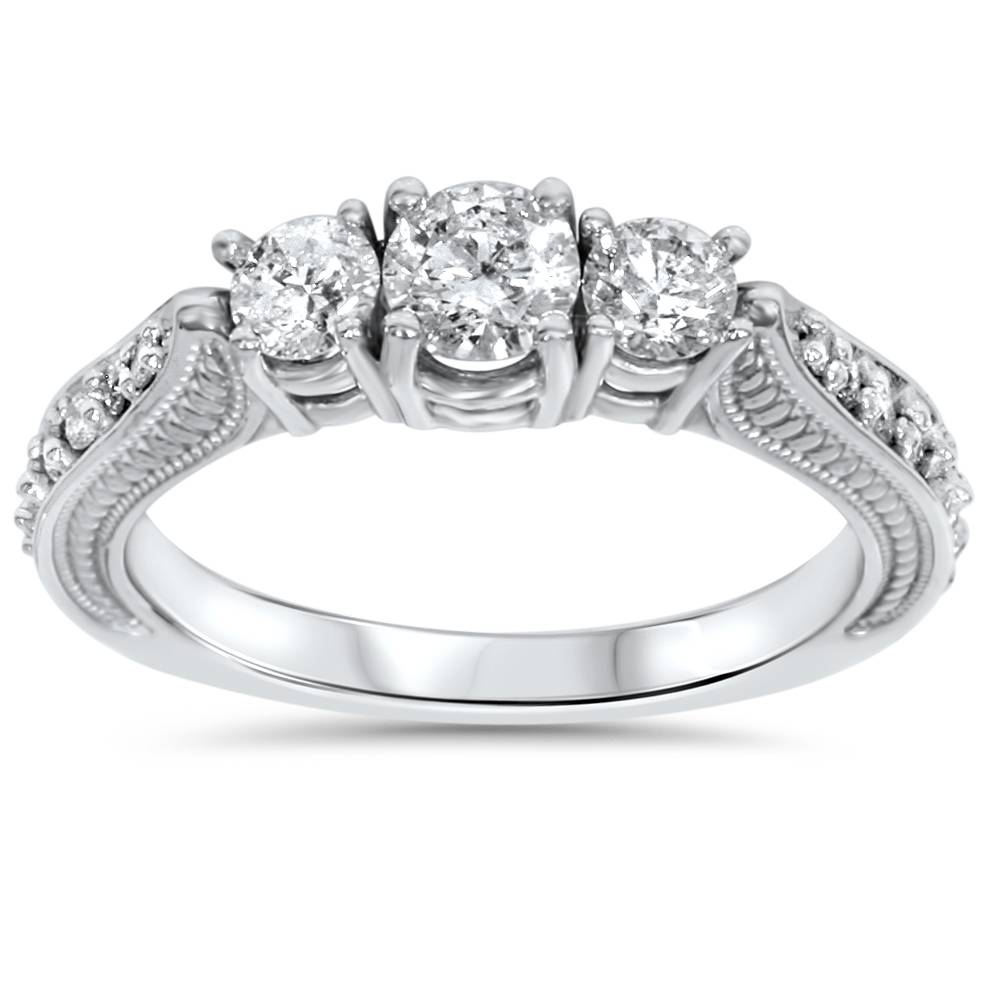 1ct 3 Stone Vintage Diamond Engagement Ring 14K White Gold