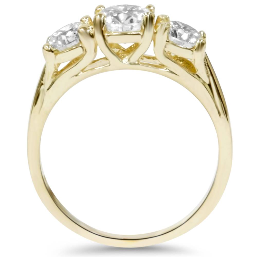 2ct Round Diamond 3-Stone Engagement Ring 14K Yellow Gold ...