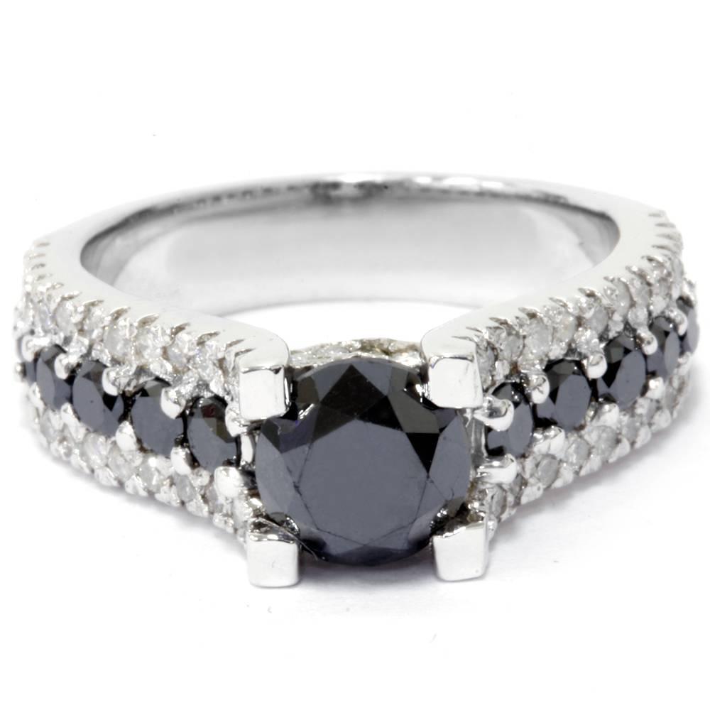 Black Treated Diamond Engagement Ring 2 3 4 Carat 14K White Gold