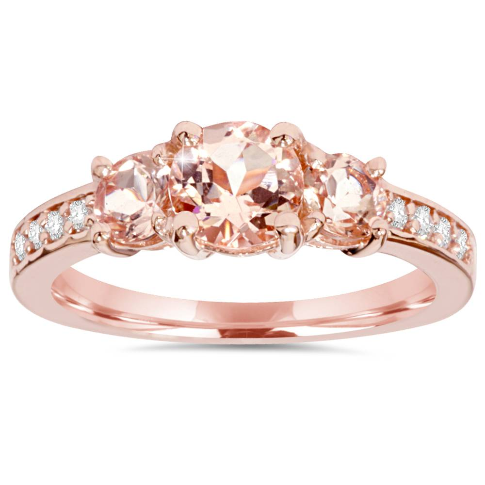 morganite natural diamond 3 stone ring 14k rose gold. Black Bedroom Furniture Sets. Home Design Ideas