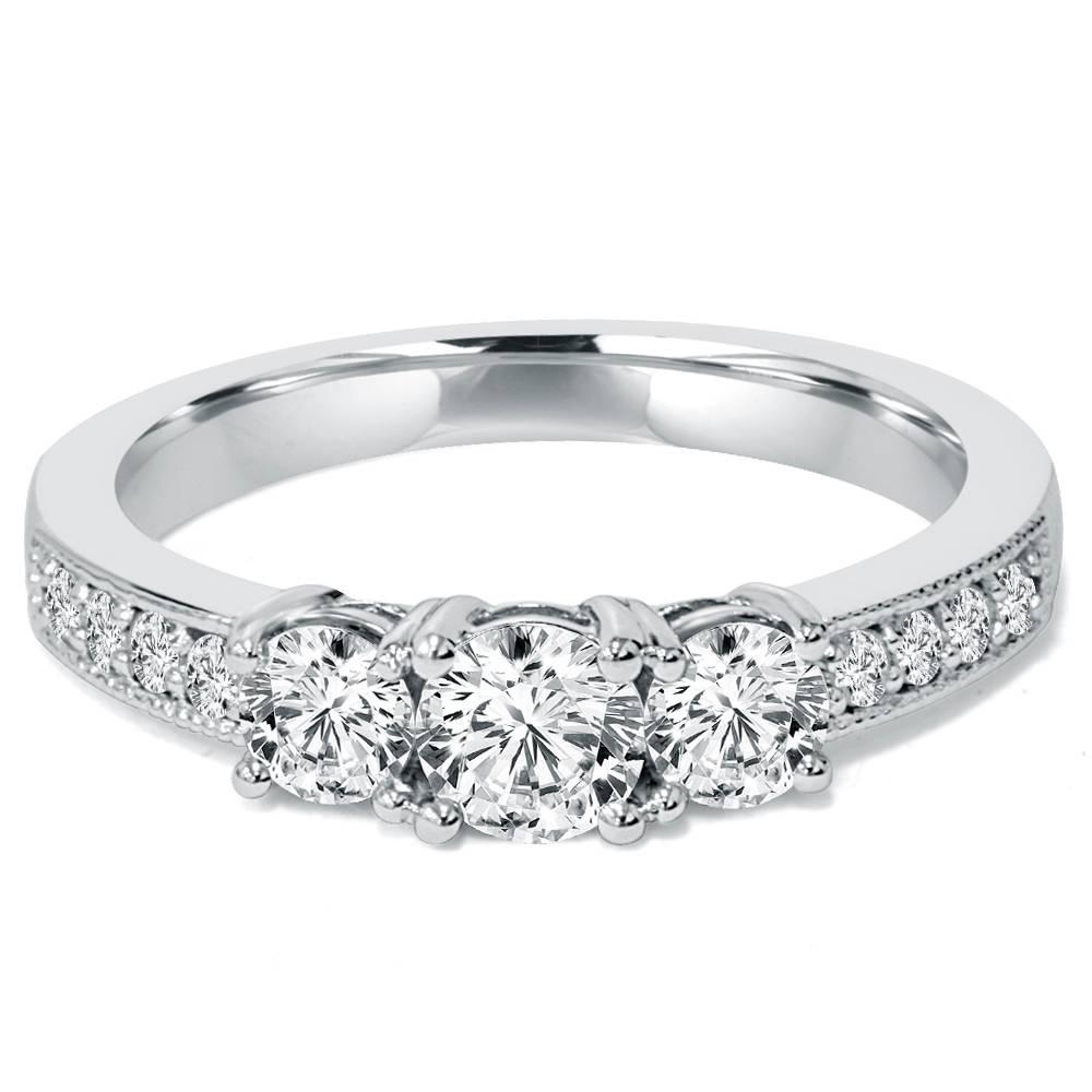 1 ct 3 stone diamond milgrain accent engagement ring 10k for 10k white gold wedding ring