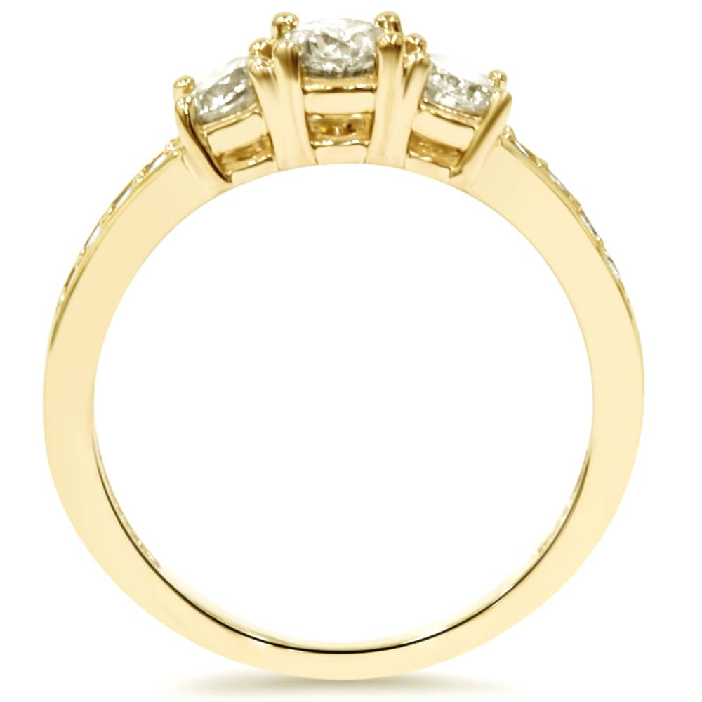 1 ct 3 stone diamond engagement ring 10k yellow gold ebay. Black Bedroom Furniture Sets. Home Design Ideas