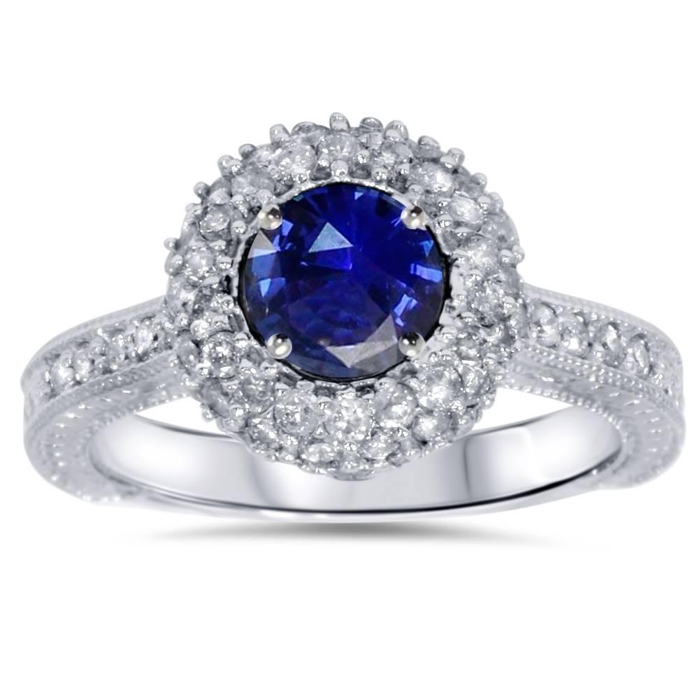 1ct blue sapphire diamond halo vintage engagement round. Black Bedroom Furniture Sets. Home Design Ideas