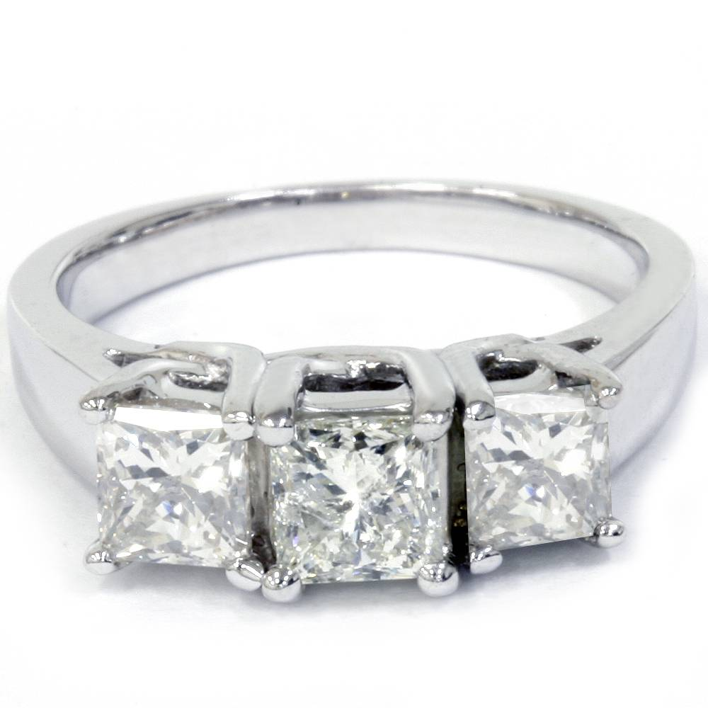 1 1 2ct 3 Stone Princess Cut Diamond Engagement Ring 14K White Gold
