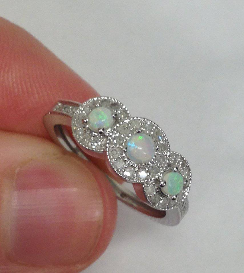 Opal Engagement Rings: 1/2CT 3-Stone Halo Opal & Diamond Ring 14K White Gold