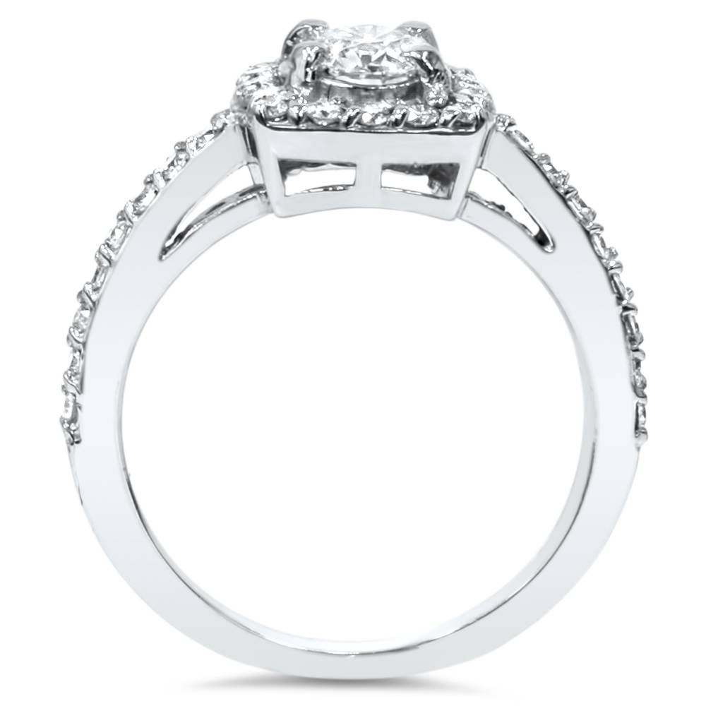 Cushion Halo Diamond Engagement Ring 3 4 ct Solitaire Brilliant Cut White Gol