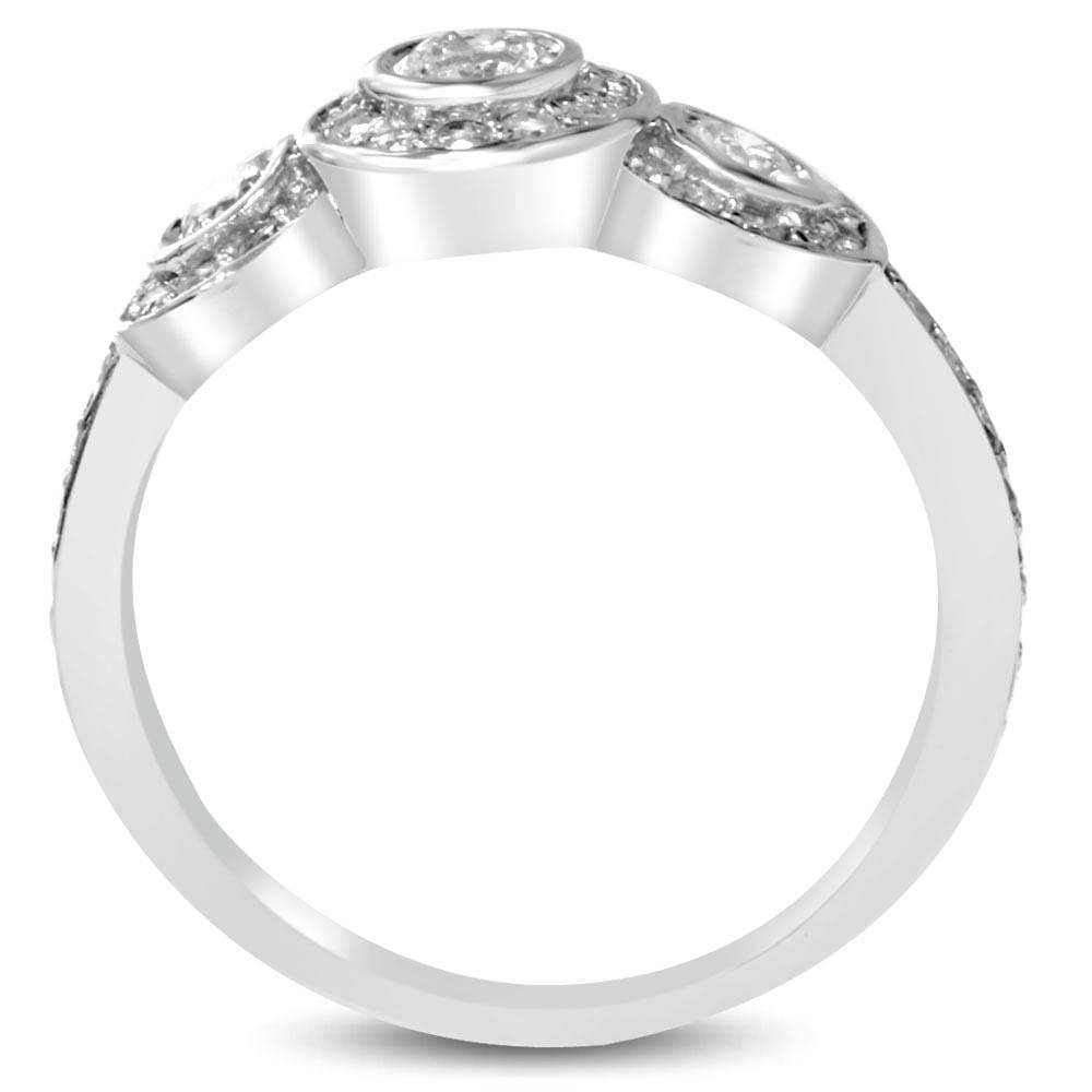 3 4ct Diamond Three Stone Engagement Ring 14K White Gold Bezel Solitaire Roun