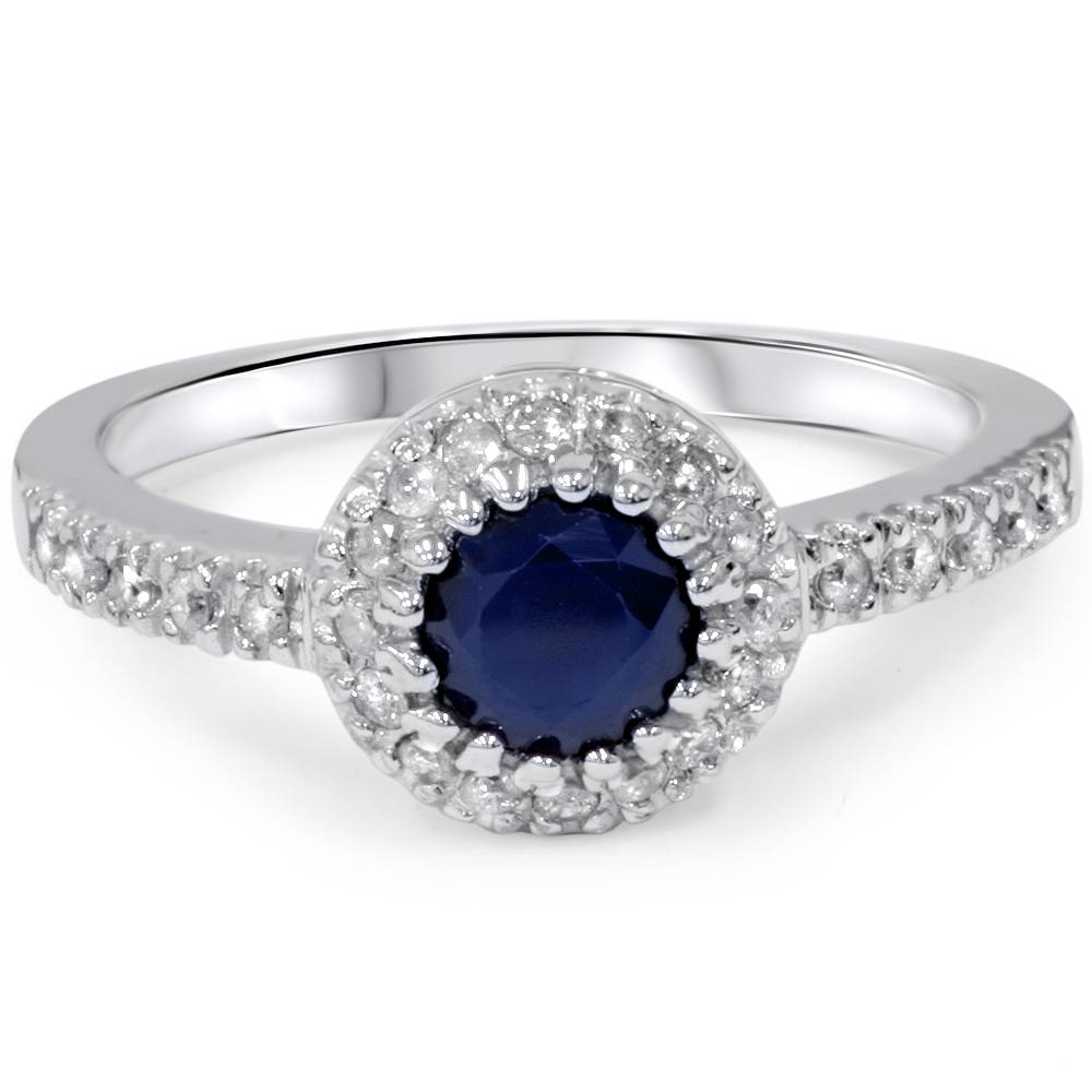 1ct halo genuine blue sapphire diamond engagement ring 14k. Black Bedroom Furniture Sets. Home Design Ideas