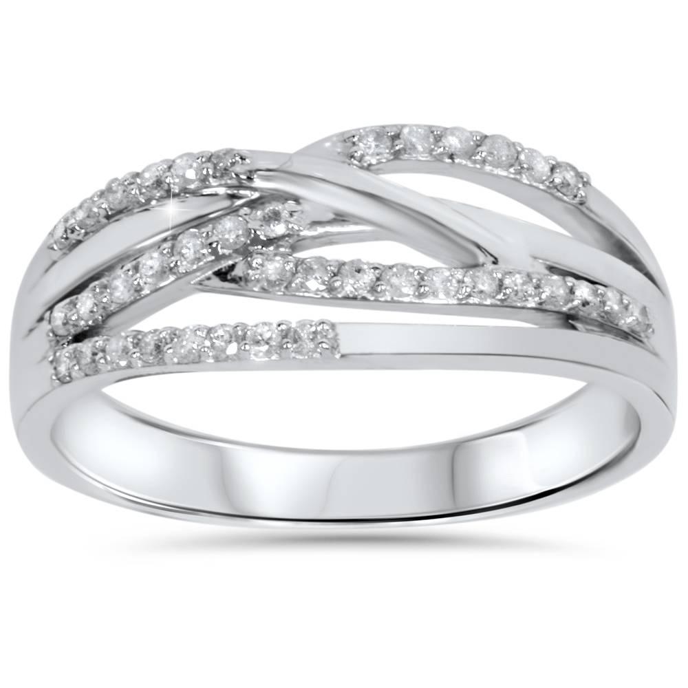 1 5ct diamond crossover ring 10k white gold ebay. Black Bedroom Furniture Sets. Home Design Ideas