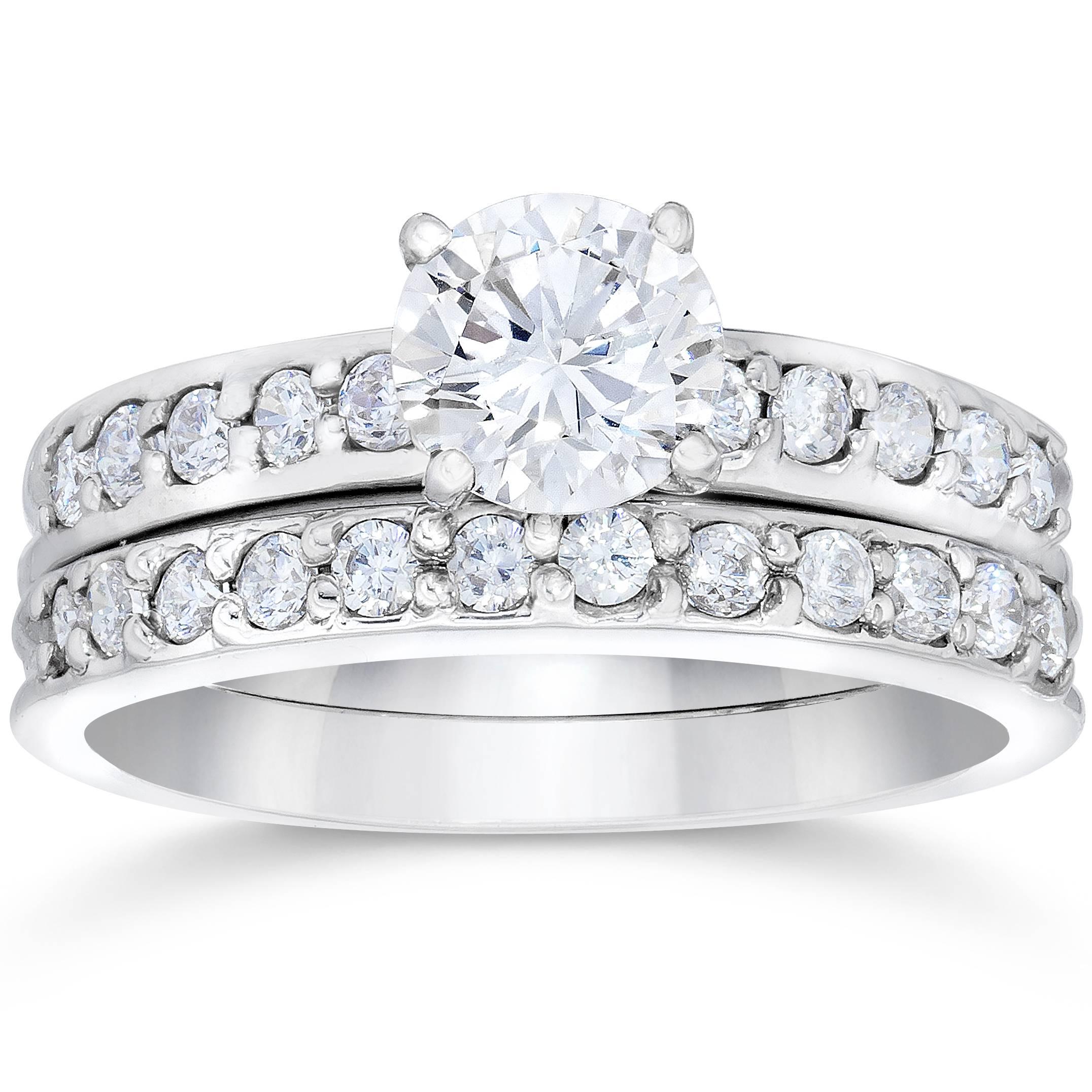 1 carat genuine diamond engagement matching wedding ring for Matching white gold wedding rings