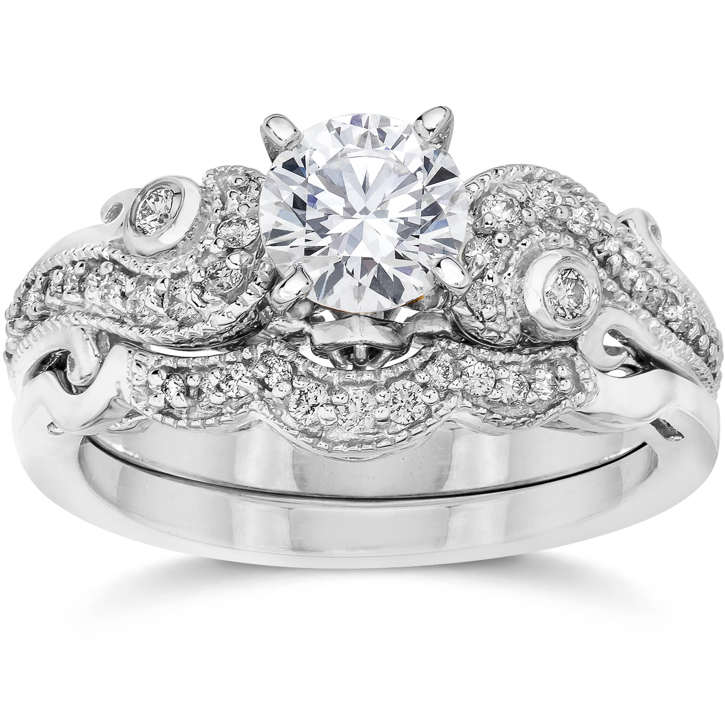 White Gold Wedding Sets: Emery 3/4Ct Vintage Diamond Filigree Engagement Wedding
