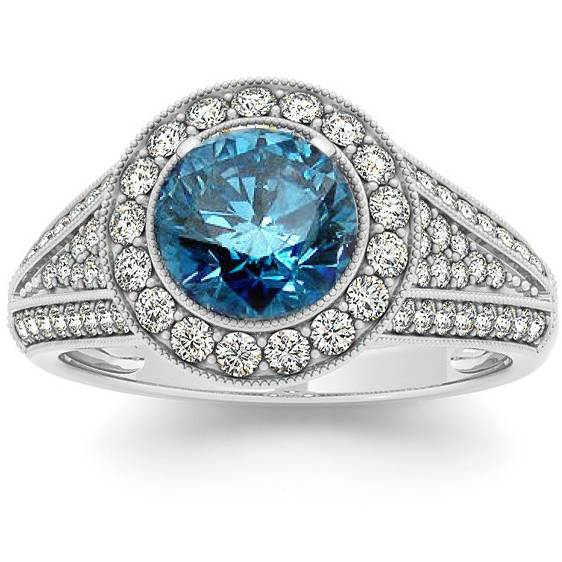 Pompeii3 1.60 cttw Pave Halo Blue Diamond (1.00CT Center) Engagement Ring 14K White Gold
