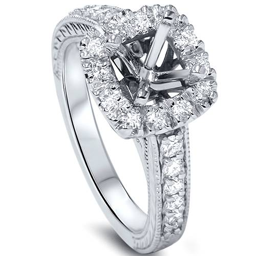 1 2ct Cushion Cut Halo Diamond Vintage Engagement Ring Setting 14K White Gold