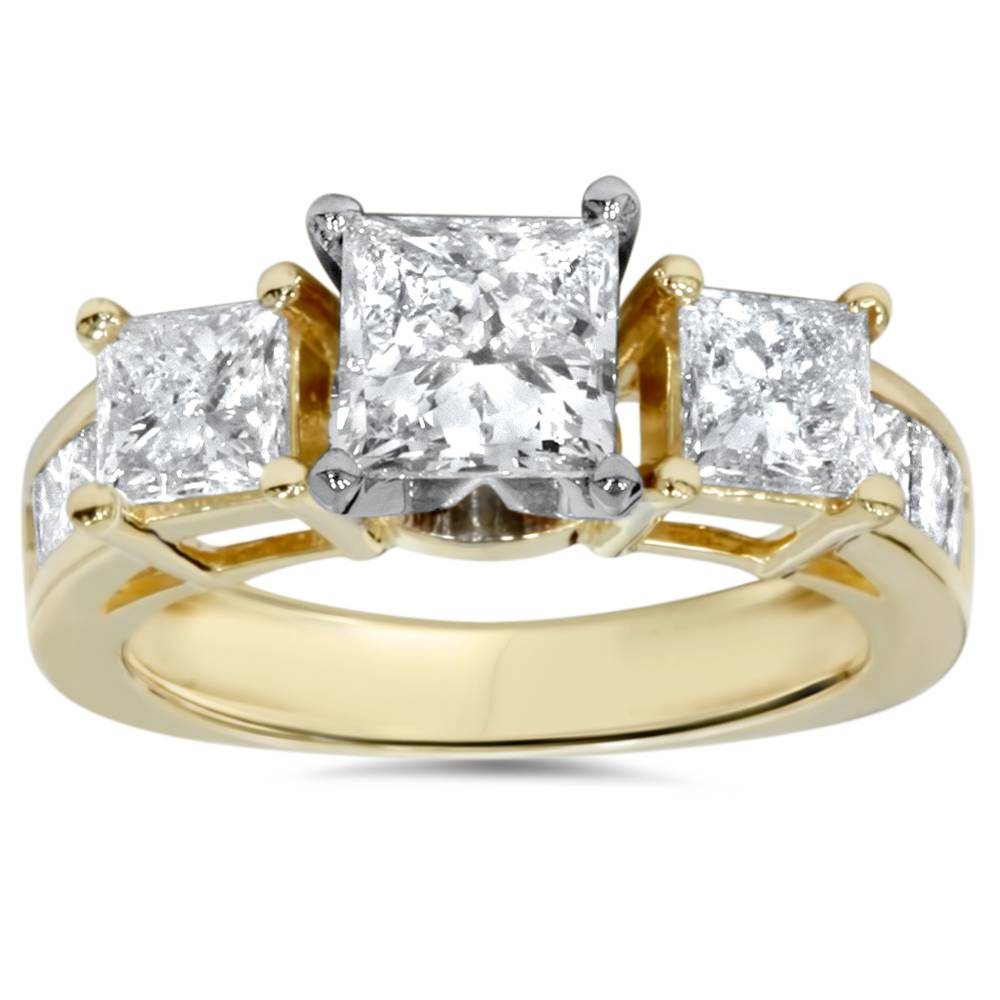 2 carat princess cut enhanced 3 engagement