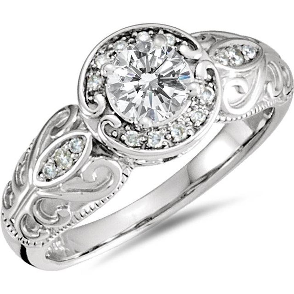 1 2ct vintage engagement halo ring 10k white gold