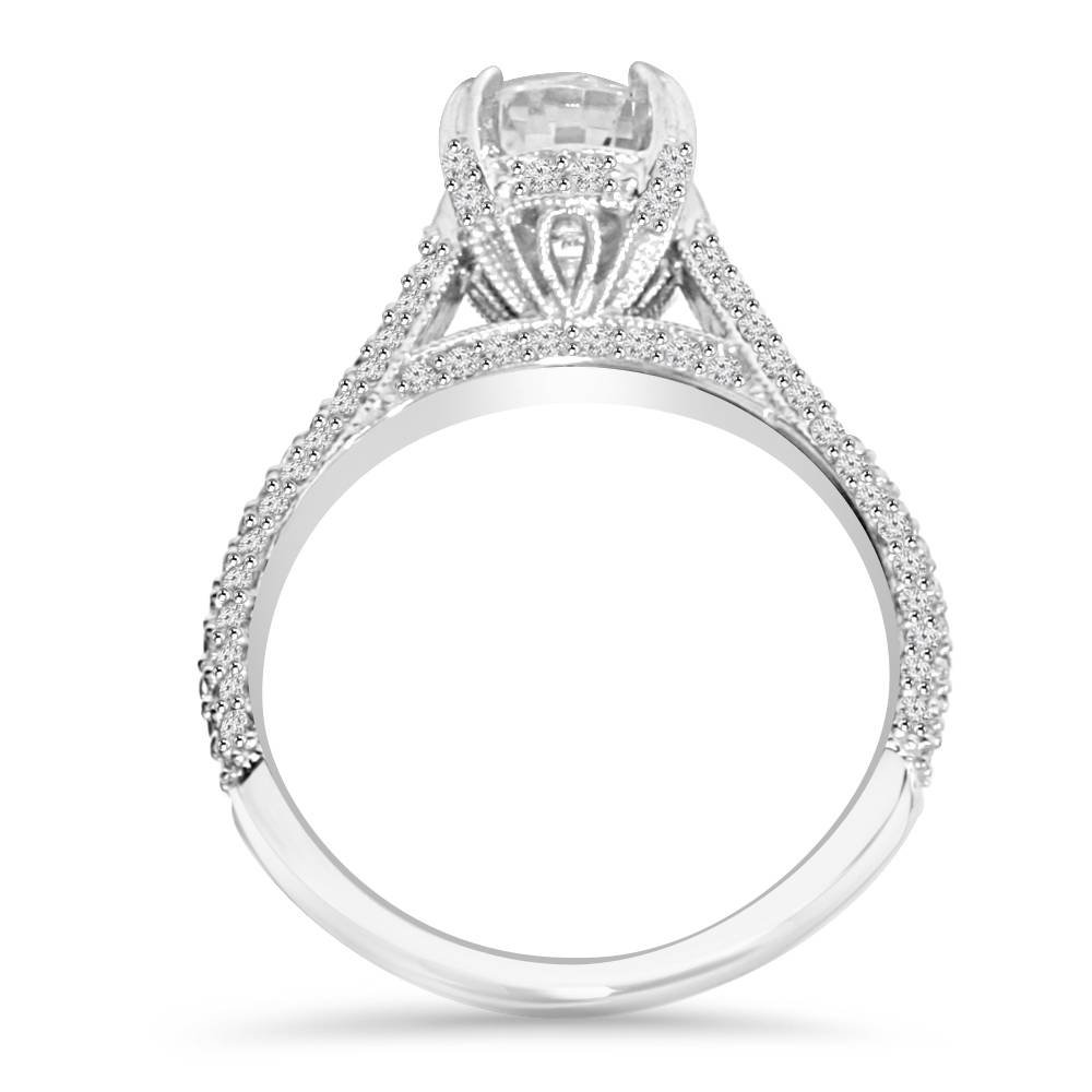 1 70Ct Micro Pave Lab Created Diamond Engagement Ring 14K White Gold