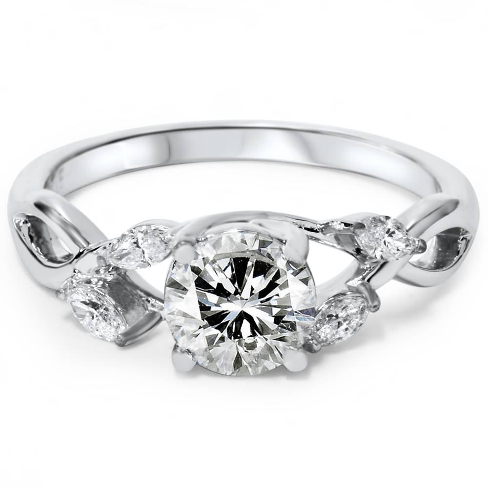 1 1 3ct Diamond Vine Vintage Marquise Engagement Ring 14K White Gold Lab Crea