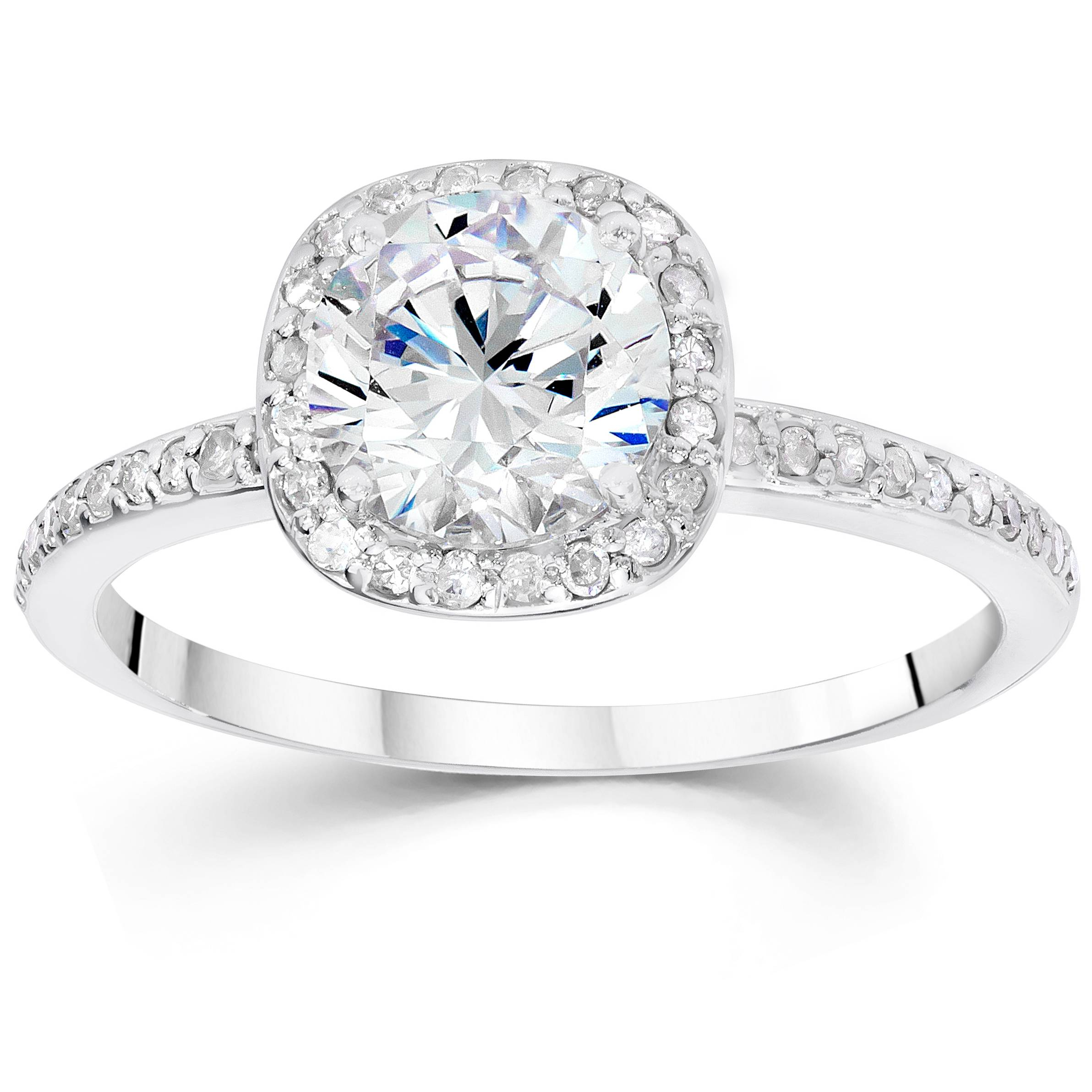 5 8ct Cushion Halo Diamond Engagement Ring 14K White Gold Solitaire Round Cut