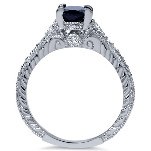 2ct Treated Vintage Diamond Black Sapphire Engagement Ring 14K White Gold