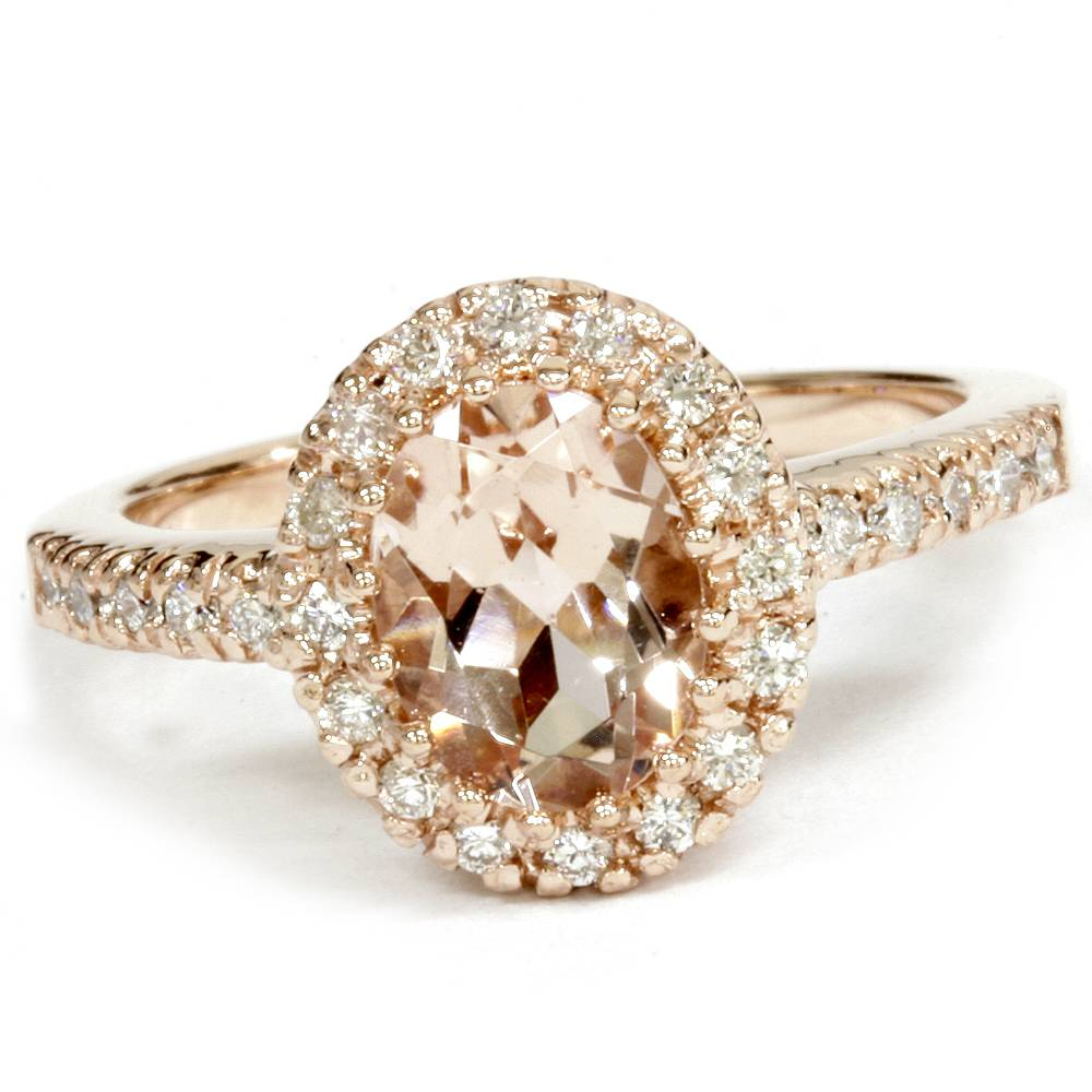 oval morganite diamond halo ring 14k rose gold ebay. Black Bedroom Furniture Sets. Home Design Ideas