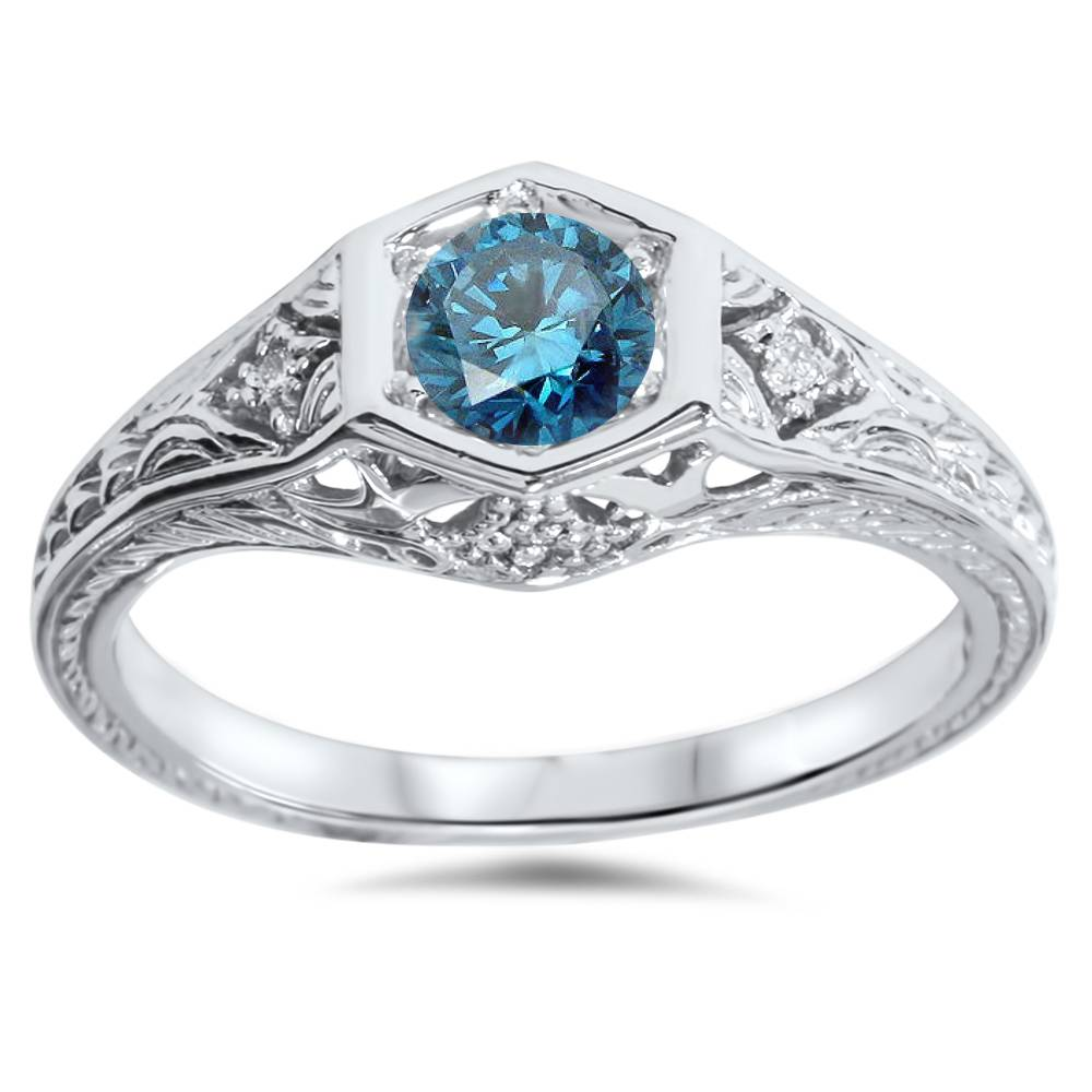 3 8ct treated vintage blue engagement ring 14k