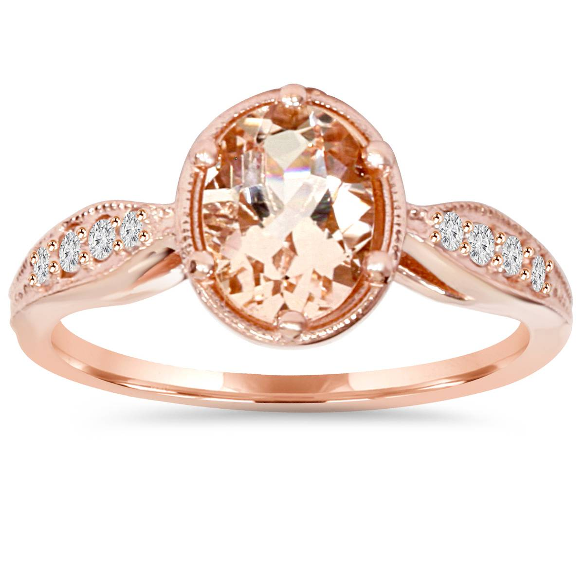 1ct vintage morganite diamond ring 14k rose gold ebay. Black Bedroom Furniture Sets. Home Design Ideas