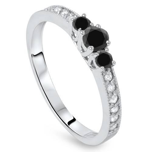 Pompeii3 1/2ct Treated Black & White Diamond 3 Stone Ring 14K White Gold