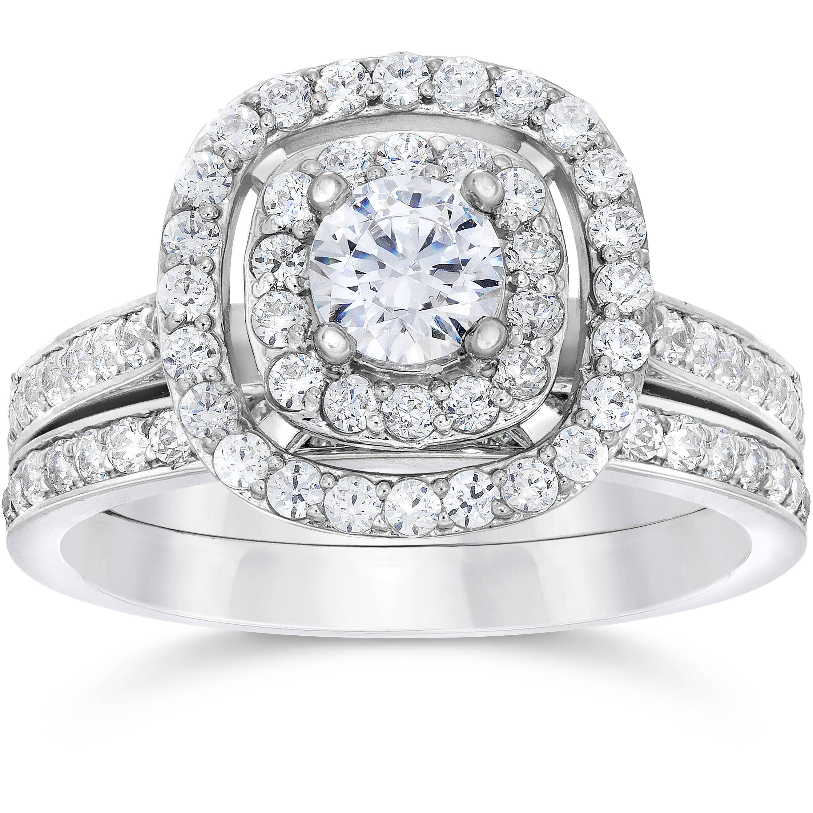 1 1 2ct Double Cushion Halo Real Diamond Engagement Wedding Ring Set White Go