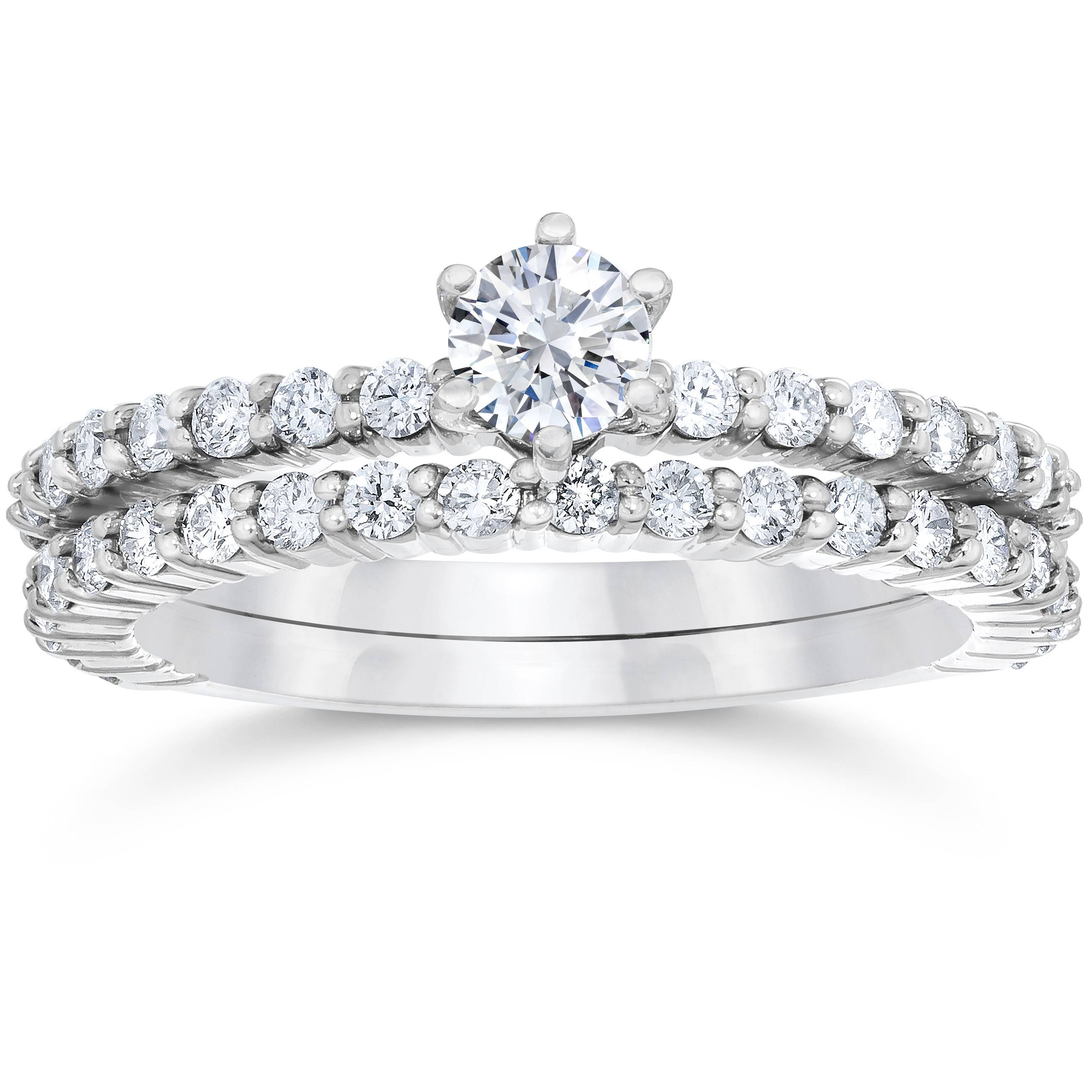 1 ct engagement matching wedding ring set white