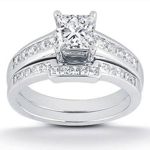 7 8ct princess cut channel set wedding engagement