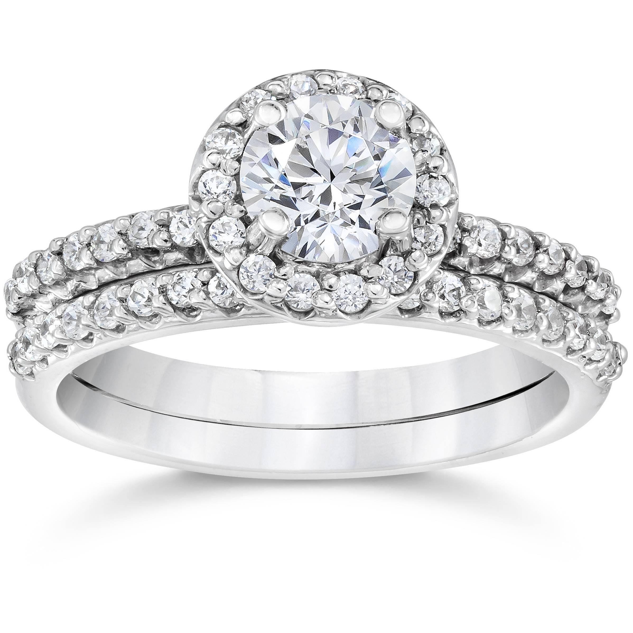1 1 10ct diamond pave halo solitaire engagement wedding. Black Bedroom Furniture Sets. Home Design Ideas