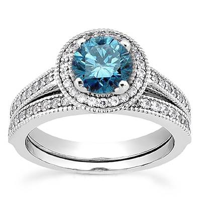 Pompeii3 Vintage 1.15CT Blue Diamond Engagement Ring Wedding Guard Band Set White Gold at Sears.com