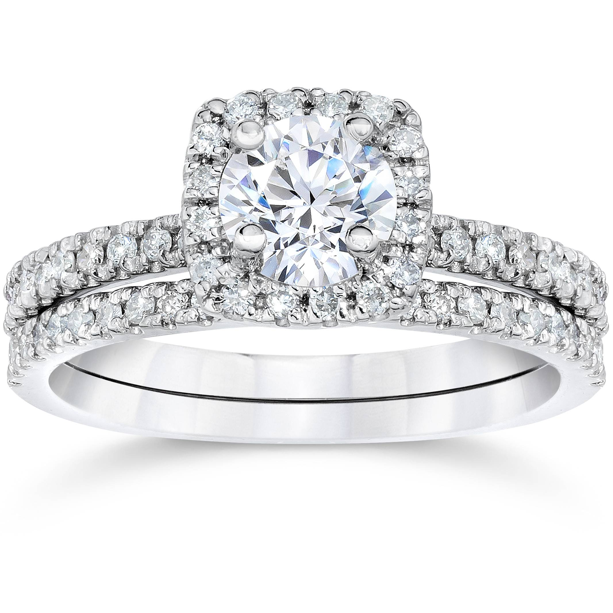 5 8ct cushion halo real diamond engagement wedding ring for Wedding band under engagement ring