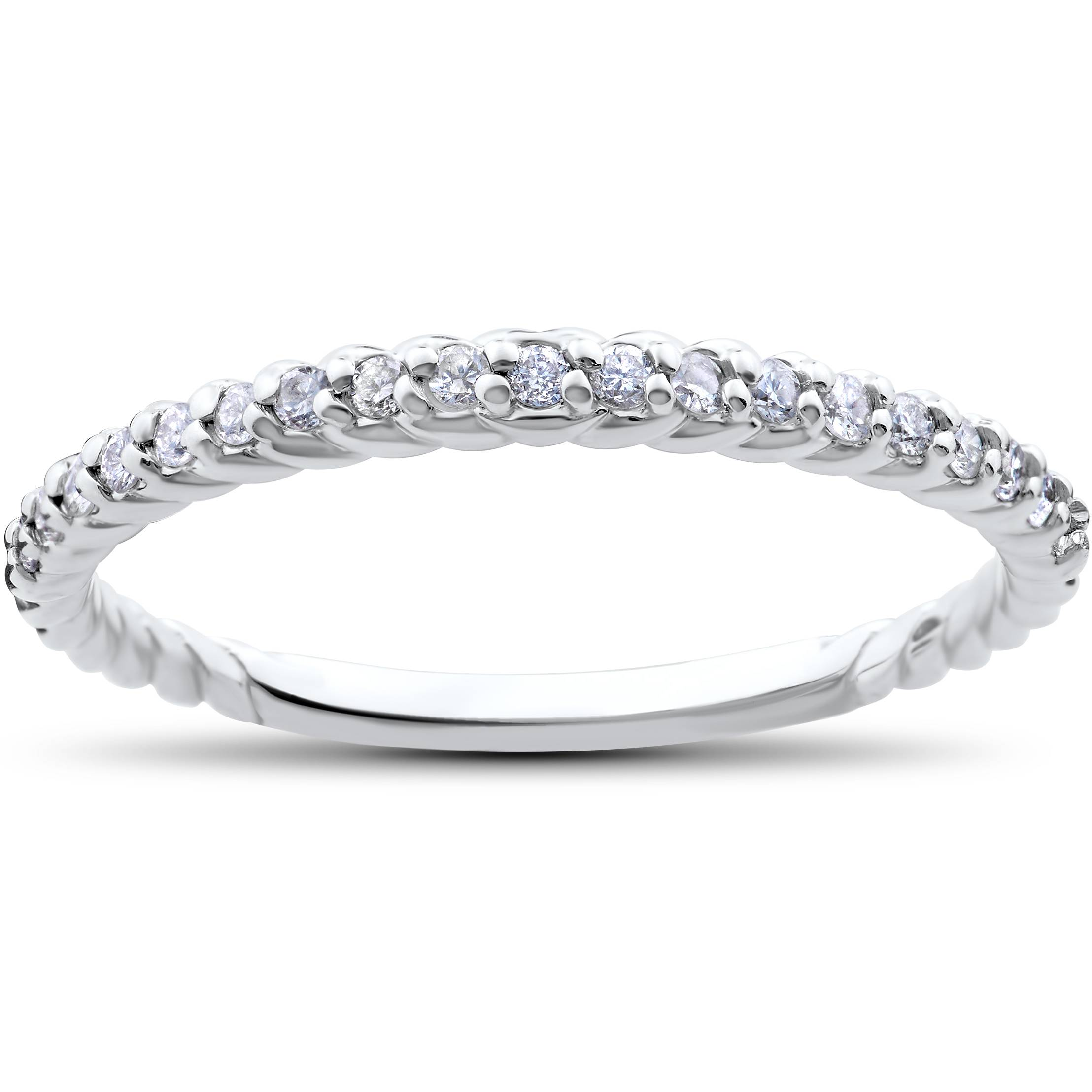 stackable diamond wedding ring 1 4ct braided anniversary band 14k white gold. Black Bedroom Furniture Sets. Home Design Ideas