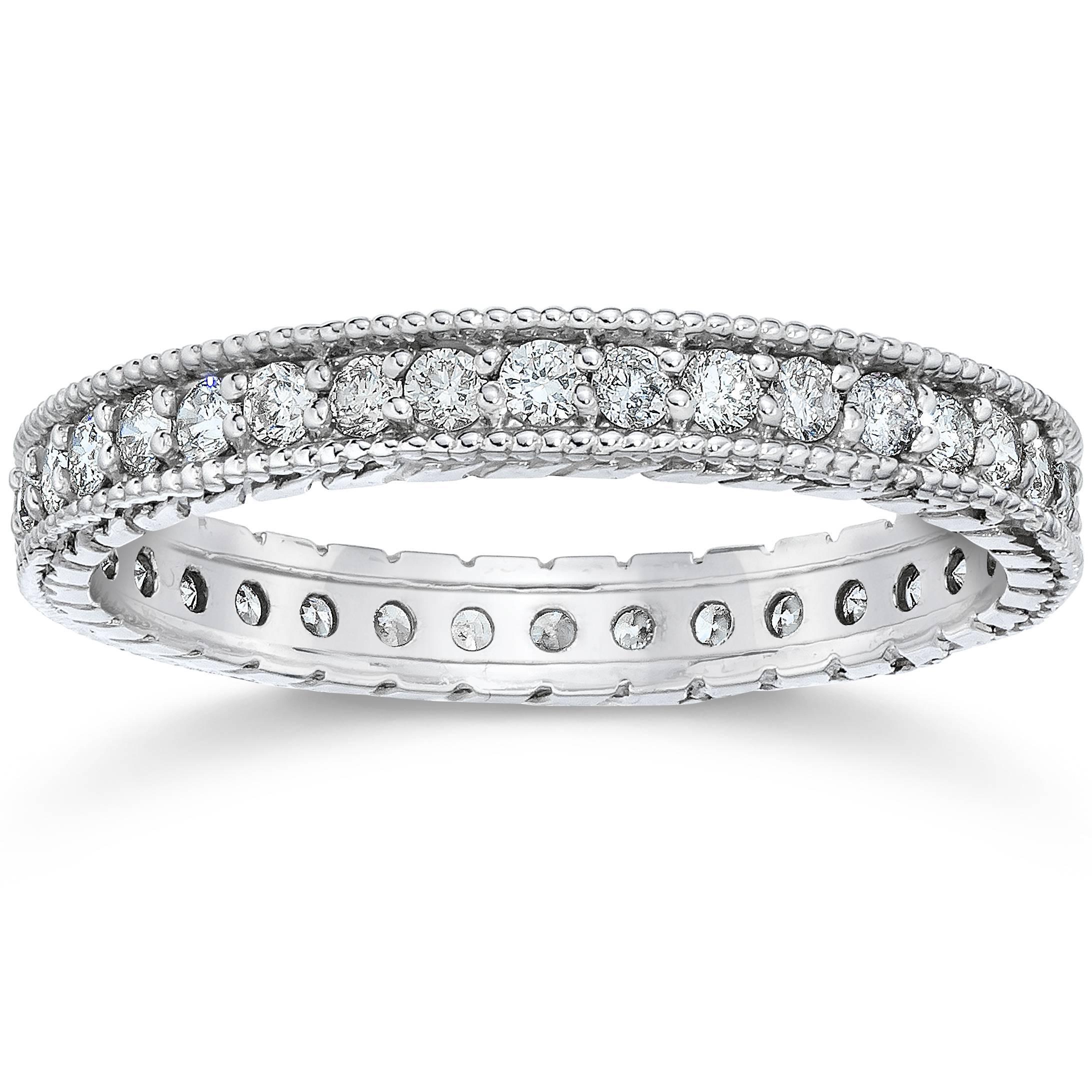 Vintage Bands: 5/8ct Vintage Diamond Hand Engraved Eternity Ring 14K